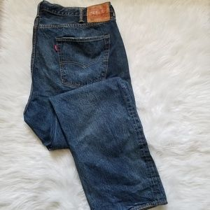 Levis 501 Distressed Button fly  Blue Jeans 44x32